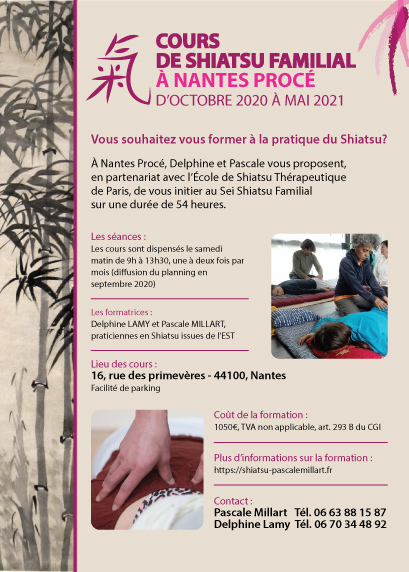 Training in the practice of Family Shiatsu at Nantes